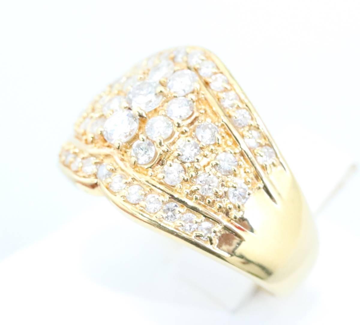 【1円スタート】 ♪★豪華な輝き★天然ダイヤモンド1.03ct K18リング♪ Jewel de Coco_画像6