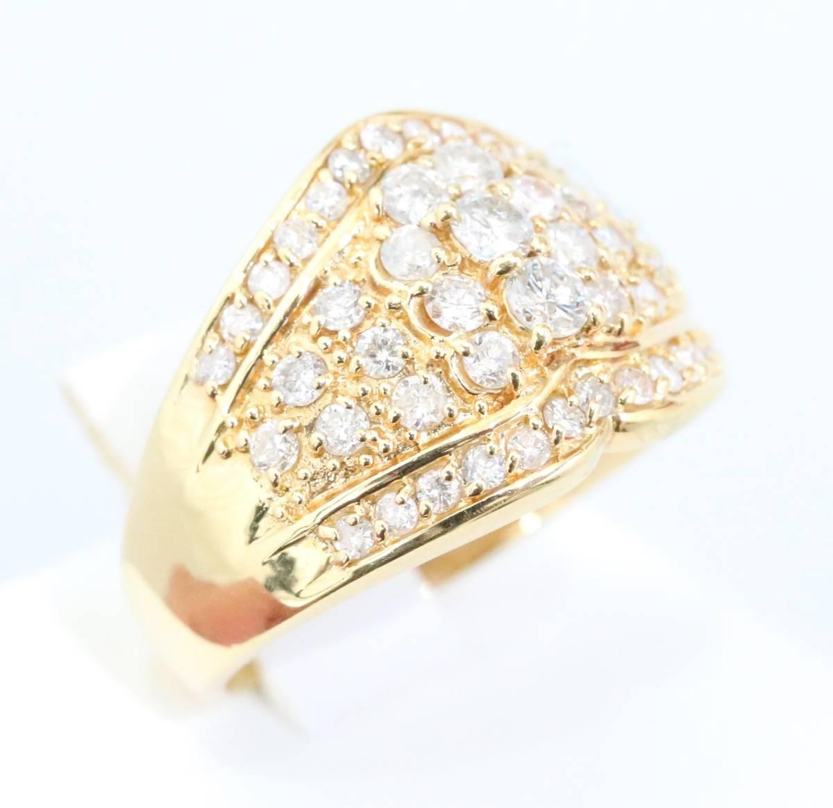 【1円スタート】 ♪★豪華な輝き★天然ダイヤモンド1.03ct K18リング♪ Jewel de Coco_画像7