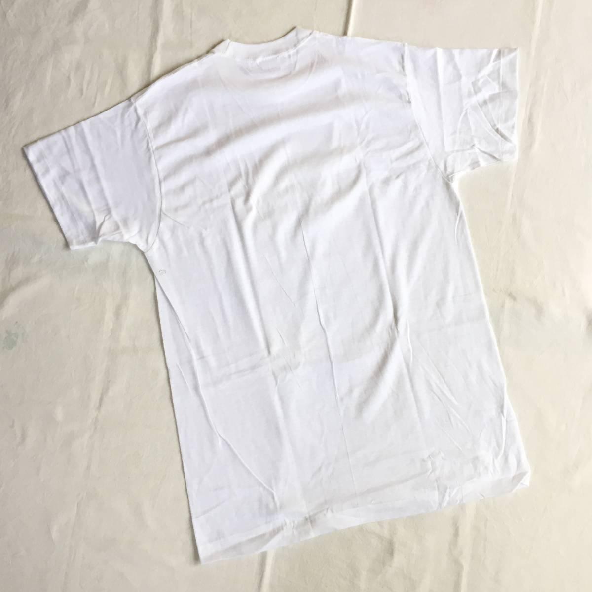 1972 70s USA製 デッドストック Lサイズ BVD 丸首 白 無地 Tシャツ アンダーシャツ VINTAGE _画像3