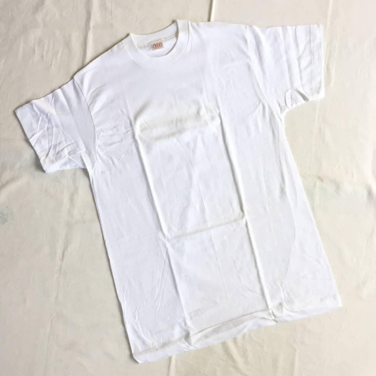 1972 70s USA製 デッドストック Lサイズ BVD 丸首 白 無地 Tシャツ アンダーシャツ VINTAGE _画像2