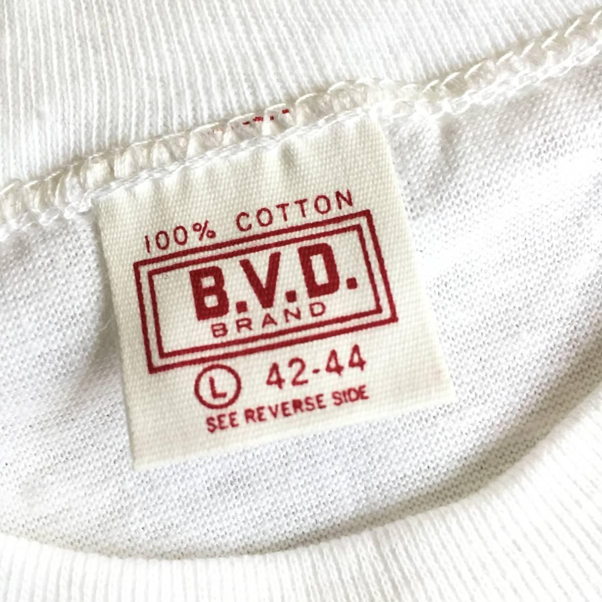 1972 70s USA製 デッドストック Lサイズ BVD 丸首 白 無地 Tシャツ アンダーシャツ VINTAGE _画像4
