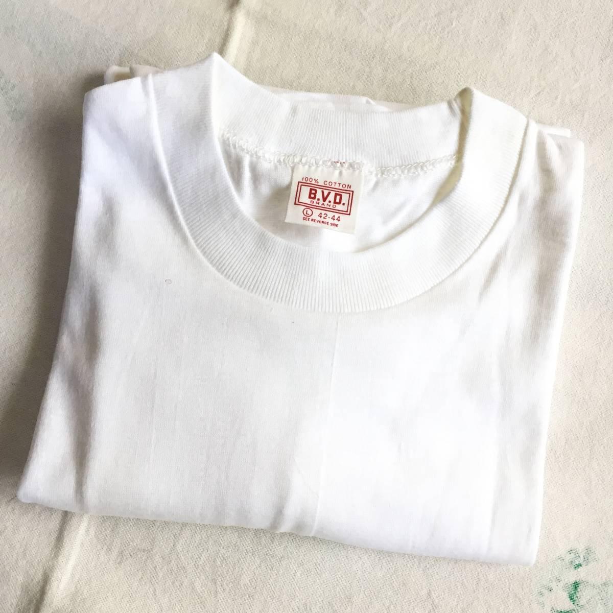 1972 70s USA製 デッドストック Lサイズ BVD 丸首 白 無地 Tシャツ アンダーシャツ VINTAGE _画像1