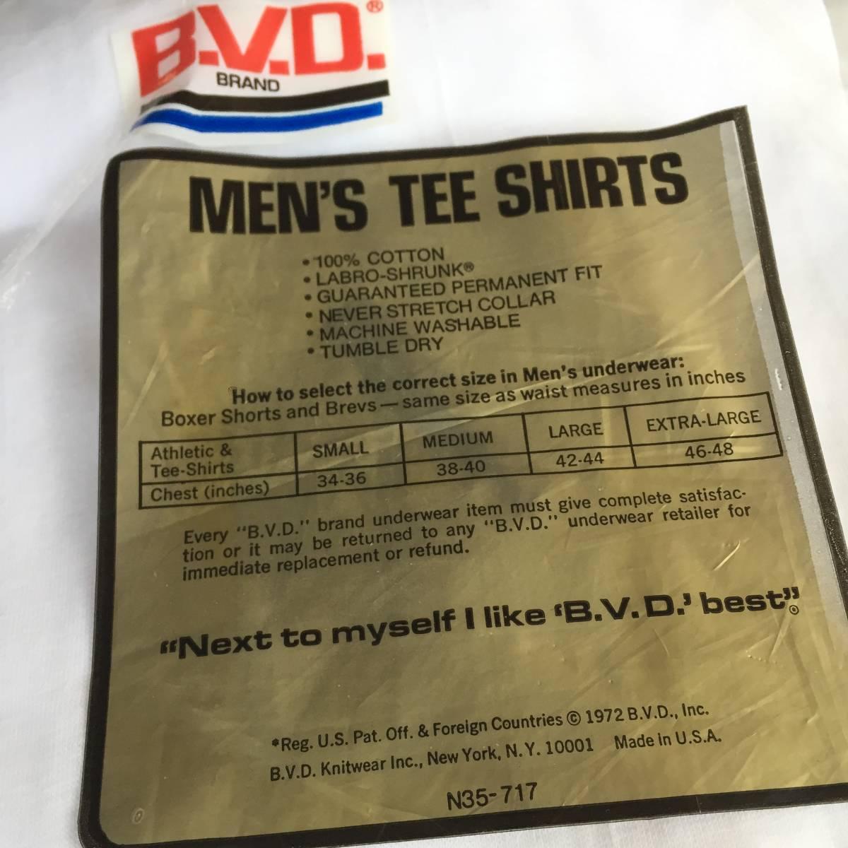 1972 70s USA製 デッドストック Lサイズ BVD 丸首 白 無地 Tシャツ アンダーシャツ VINTAGE _画像5