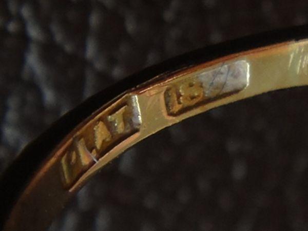 アンティーク K18刻印あり プラチナ刻印あり 虹色の輝き 3つのダイヤモンドのリング 8.8号 本物保証 イギリス購入品_画像6