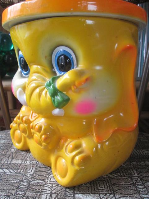 70's アメリカアンティーク ぞうのクッキージャー レトロUSAビンテージ/蚤の市アメリカ雑貨店舗ヒッピーキノコ西海岸アドバタイジング_画像3