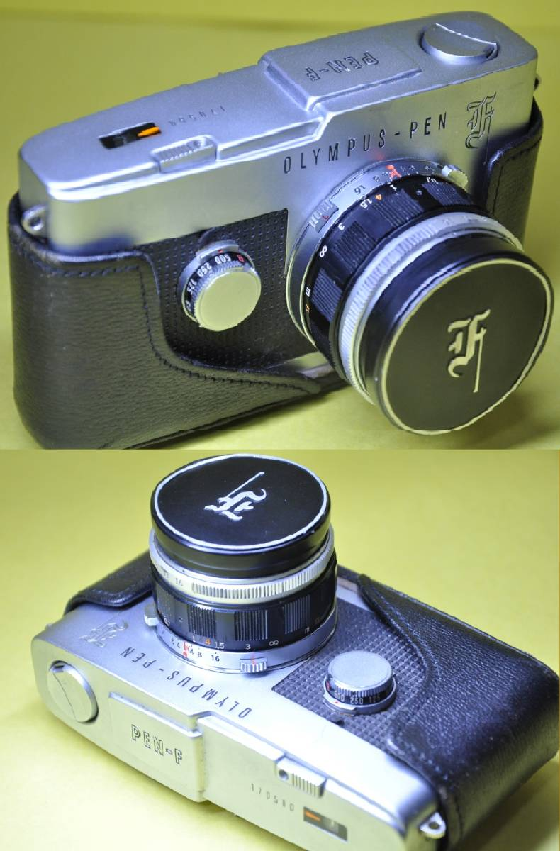 OLYMPUS PEN F PEN F オリンパス ペン 花文字 華文字 F.Zuiko Auto-s 38mm f1.8 , Auto-zoom 50-90mm f3.5 底ケース付き _画像2