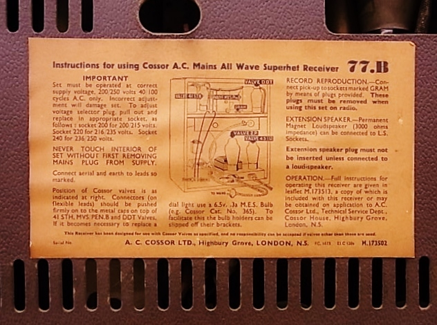 me022 ヴィンテージ Cossor イギリス製 真空管ラジオ ジャンク品_画像9