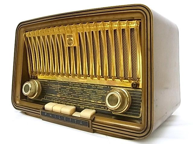g1880 ヴィンテージ PHILIPS OHILETTA TYPE-BD263U No.W90459A 真空管ラジオ 稼動品_画像2
