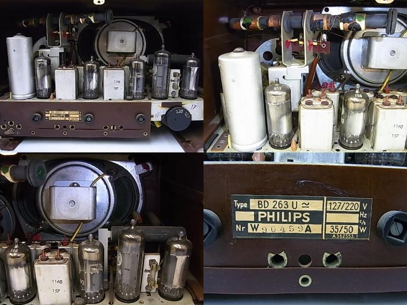 g1880 ヴィンテージ PHILIPS OHILETTA TYPE-BD263U No.W90459A 真空管ラジオ 稼動品_画像9