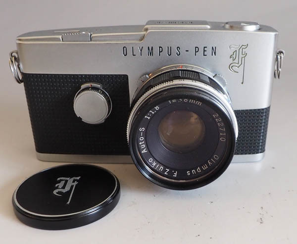 502■OLYMPUS PEN-F オリンパス F.Zuiko Auto-S 1:1.8 f=38mmレンズ付