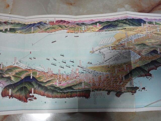 昭和5年 金子常光画 鳥瞰図[室蘭図絵]市街図/日本製鉄所室蘭工場.輪西工場_画像2