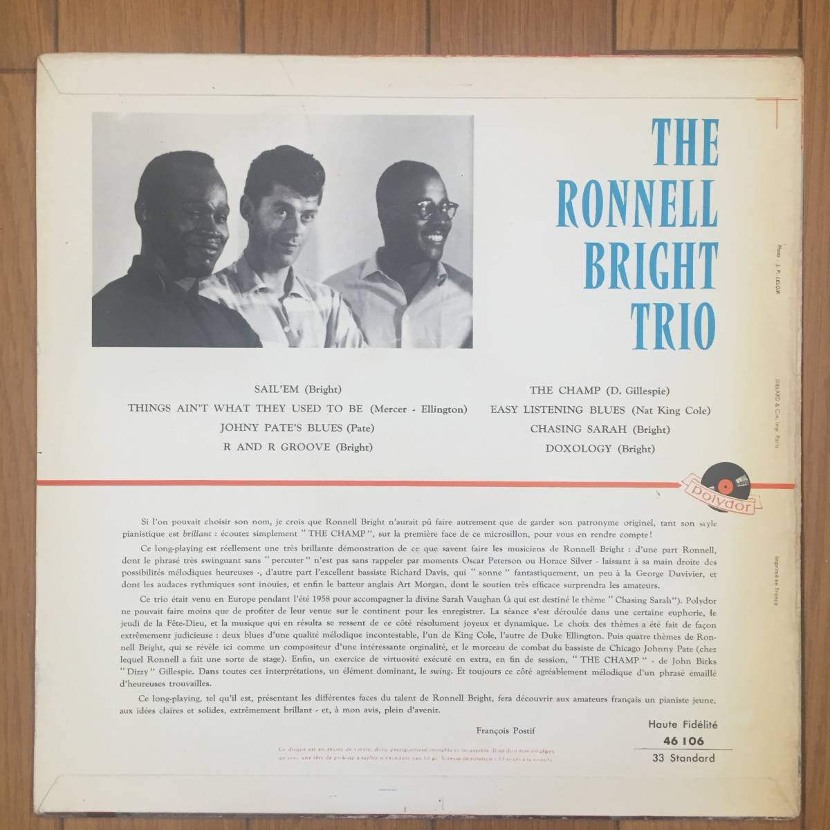 【激レア/France Polydor Original】The Ronnell Bright Trio(Polydor 46 106)_画像2