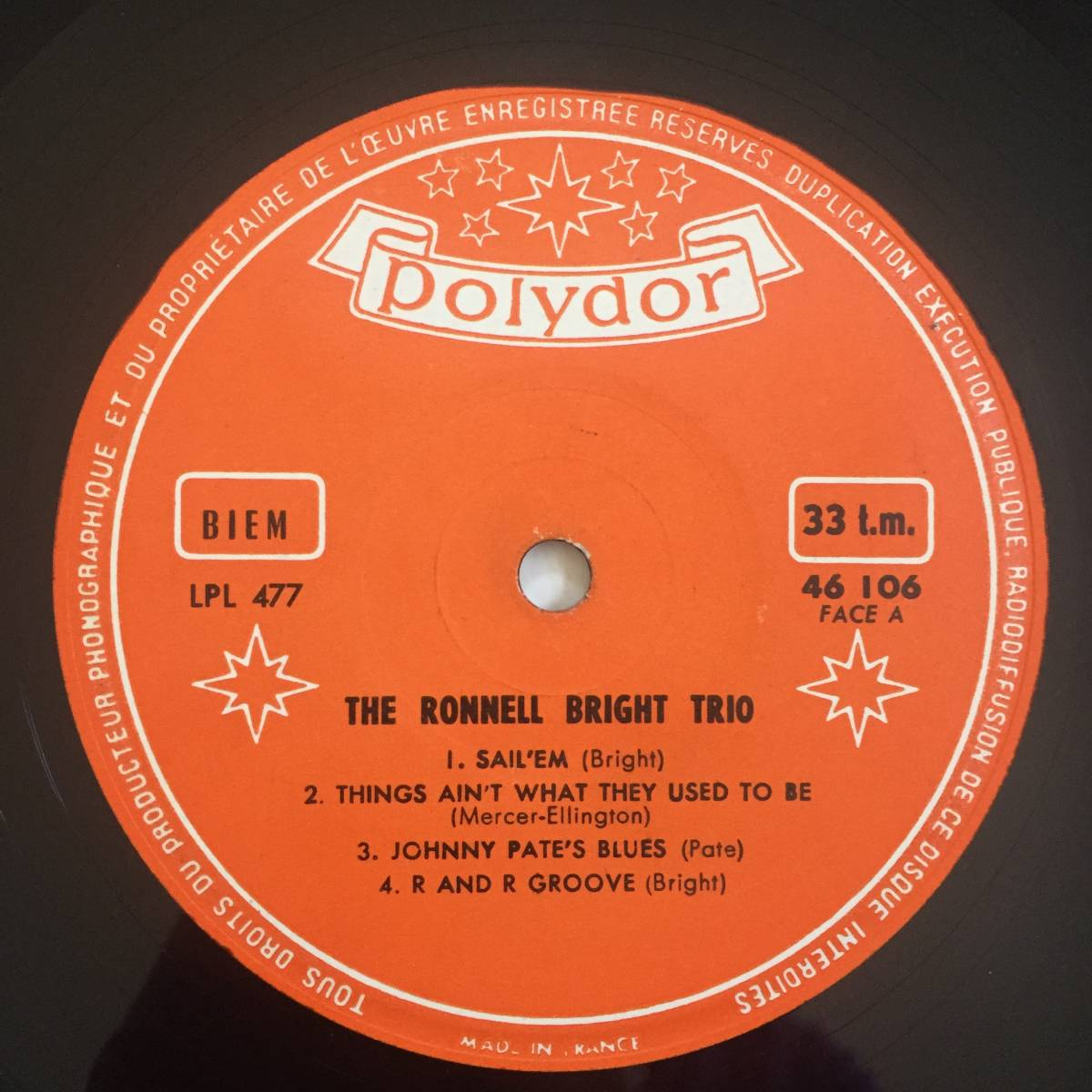 【激レア/France Polydor Original】The Ronnell Bright Trio(Polydor 46 106)_画像3