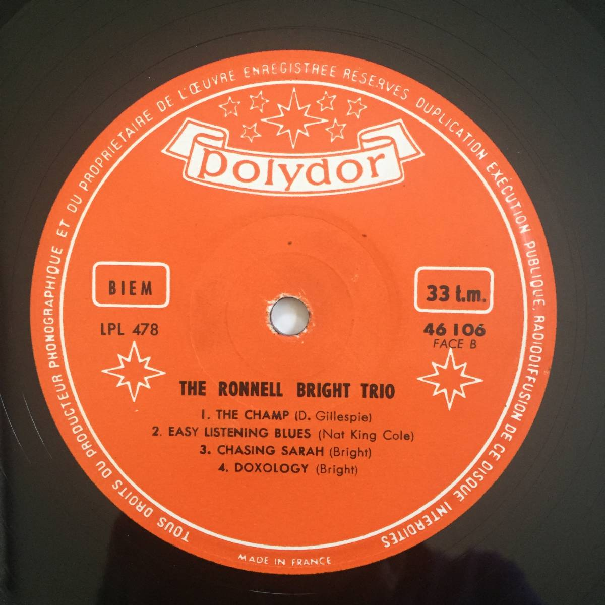 【激レア/France Polydor Original】The Ronnell Bright Trio(Polydor 46 106)_画像4
