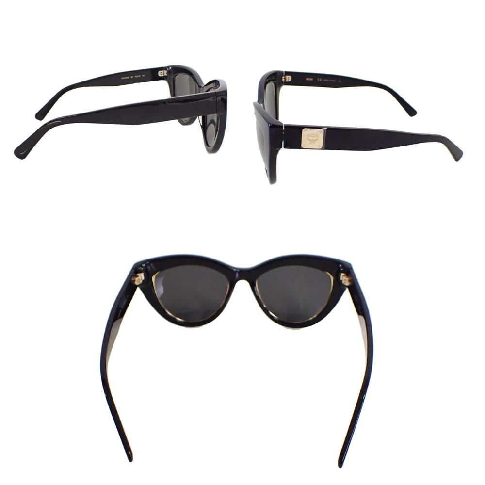【新品未使用】MCM サングラス 眼鏡 MCM63S キャッツアイ ロゴ デザイン フォックス型 セルフフレーム アイウェア ブラック I0576_画像2