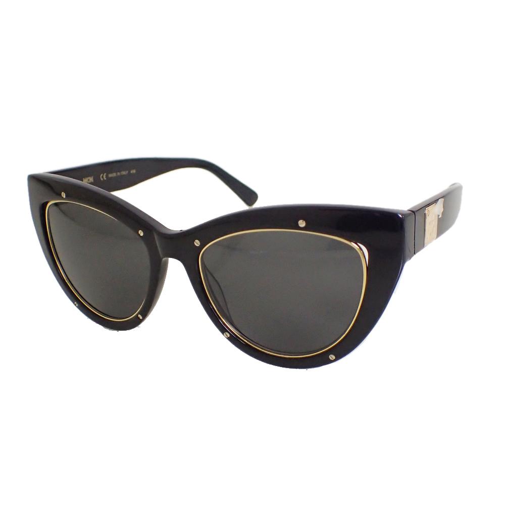 【新品未使用】MCM サングラス 眼鏡 MCM63S キャッツアイ ロゴ デザイン フォックス型 セルフフレーム アイウェア ブラック I0576_画像1