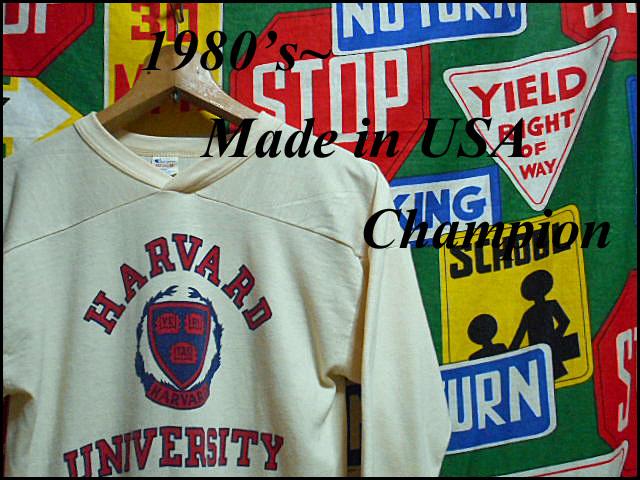 ★3列染み込みプリント★Made in USA製アメリカ製ChampionチャンピオンビンテージカレッジフットボールTシャツ80s80年代MトリコタグHARVARD_♪1980s~ Champion♪