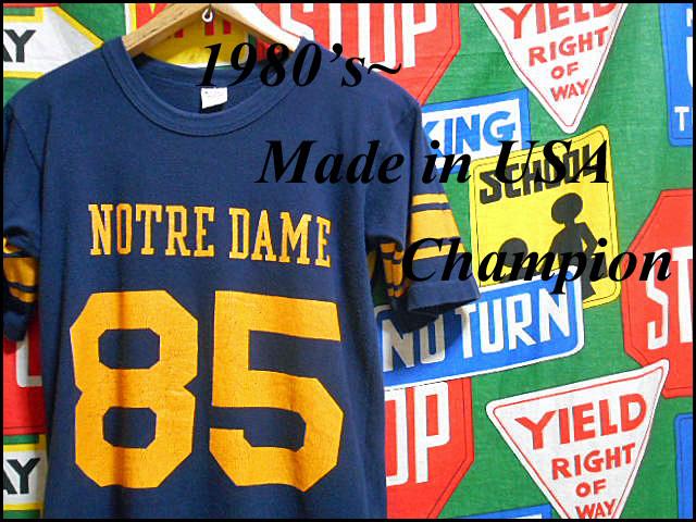★コンディション良好な1枚★Made in USA製アメリカ製ChampionチャンピオンビンテージナンバリングカレッジTシャツ80s80年代トリコタグ紺黄_画像2