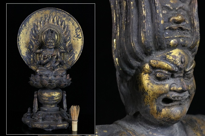 【縁】特別企画 古寺放出品 仏教美術 愛染明王 木彫鍍金坐像 江戸中期 時代の品 仏像 a-7