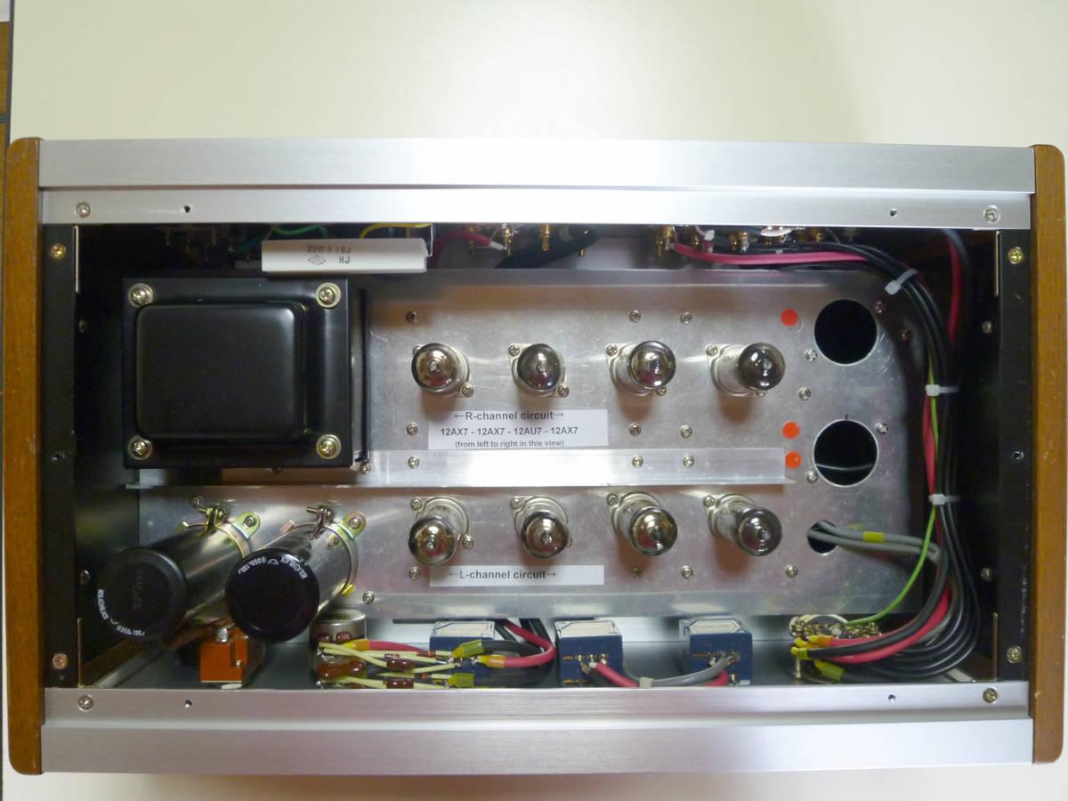 自作真空管プリアンプ(EQ回路内蔵)フロントパネルは彫金文字入り 整備・調整・測定済の中古品_画像10