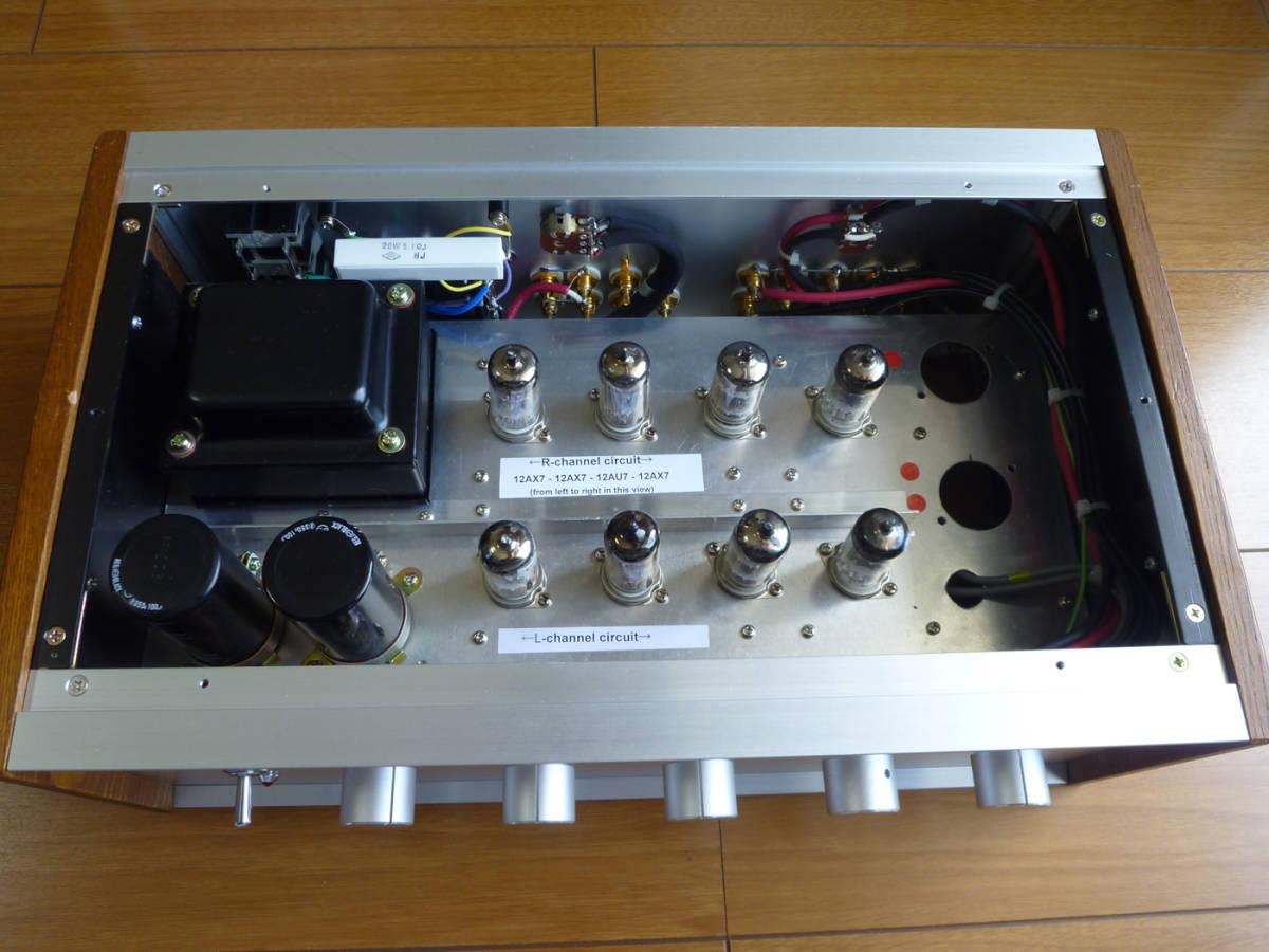自作真空管プリアンプ(EQ回路内蔵)フロントパネルは彫金文字入り 整備・調整・測定済の中古品_画像3
