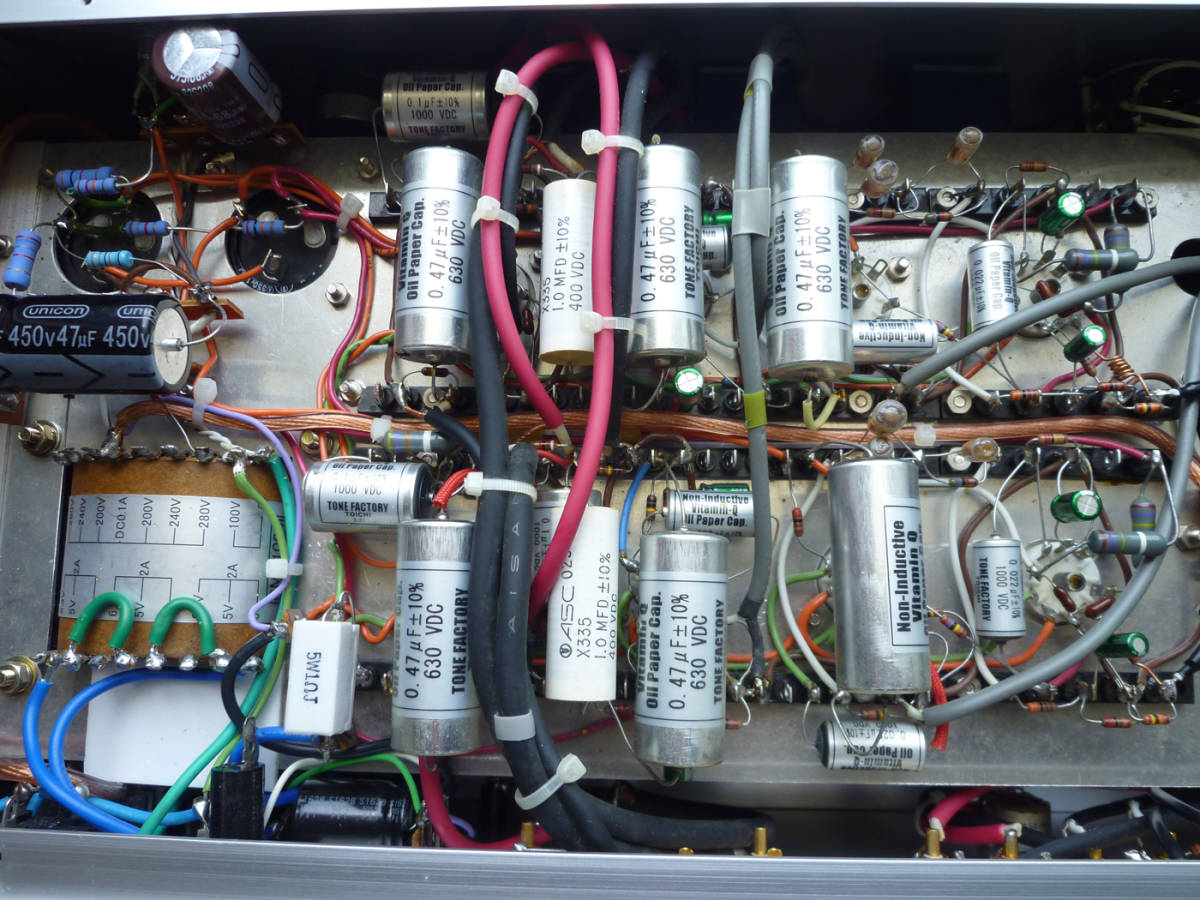 自作真空管プリアンプ(EQ回路内蔵)フロントパネルは彫金文字入り 整備・調整・測定済の中古品_画像7