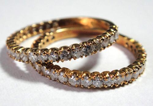 261-1864SI19 K18 金 GOLD ゴールド ダイヤ リング 指輪 1ct 二本 セット キラキラ 輝く ダイヤモンド