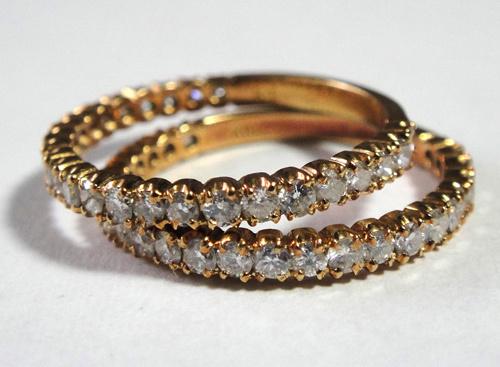 261-1864SI19 K18 金 GOLD ゴールド ダイヤ リング 指輪 1ct 二本 セット キラキラ 輝く ダイヤモンド_画像2