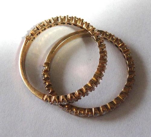 261-1864SI19 K18 金 GOLD ゴールド ダイヤ リング 指輪 1ct 二本 セット キラキラ 輝く ダイヤモンド_画像5