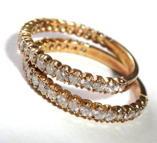 261-1864SI19 K18 金 GOLD ゴールド ダイヤ リング 指輪 1ct 二本 セット キラキラ 輝く ダイヤモンド_画像3