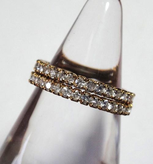 261-1864SI19 K18 金 GOLD ゴールド ダイヤ リング 指輪 1ct 二本 セット キラキラ 輝く ダイヤモンド_画像4