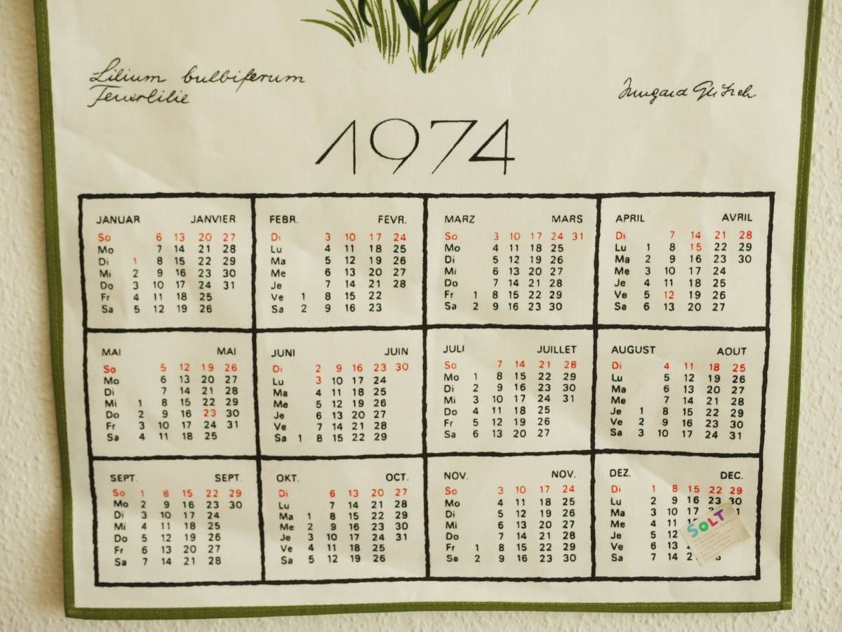 Calendar we are printed in 1974.
