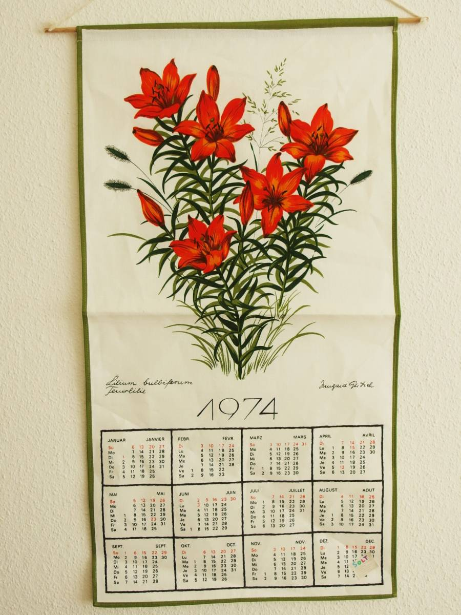 Price cut! New! Swiss made vintage hand-printed tapestry / cross (made in 1974 and with a calendar, orange lily / Lilium maculatum)