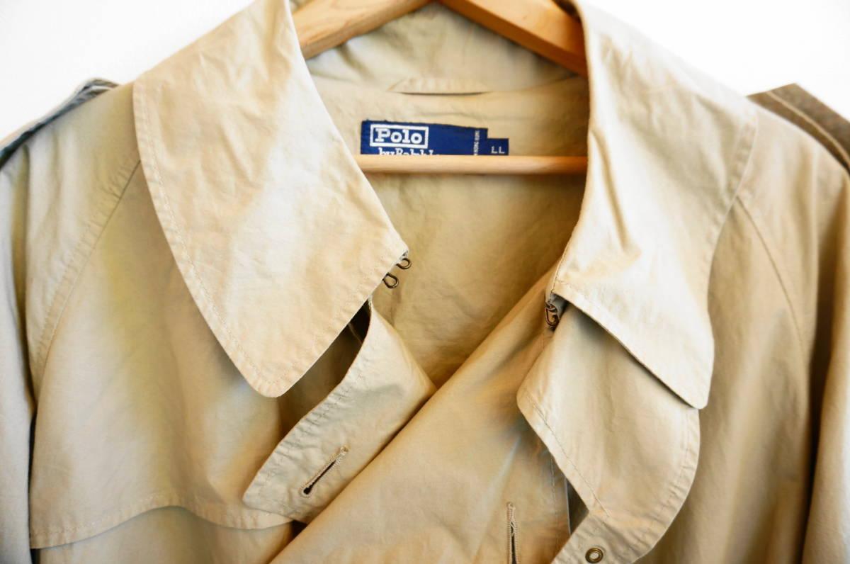 ポロ ラルフローレン Polo Ralph Lauren コート トレンチコート (ベージュ) size LL 美品(替えボタン付) 491887_画像3