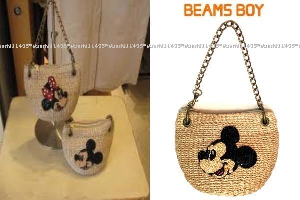 希少! BEAMS BOY ビームスボーイ × Disney ミッキー ミニ チェーン かごバッグ / カゴ チャーム