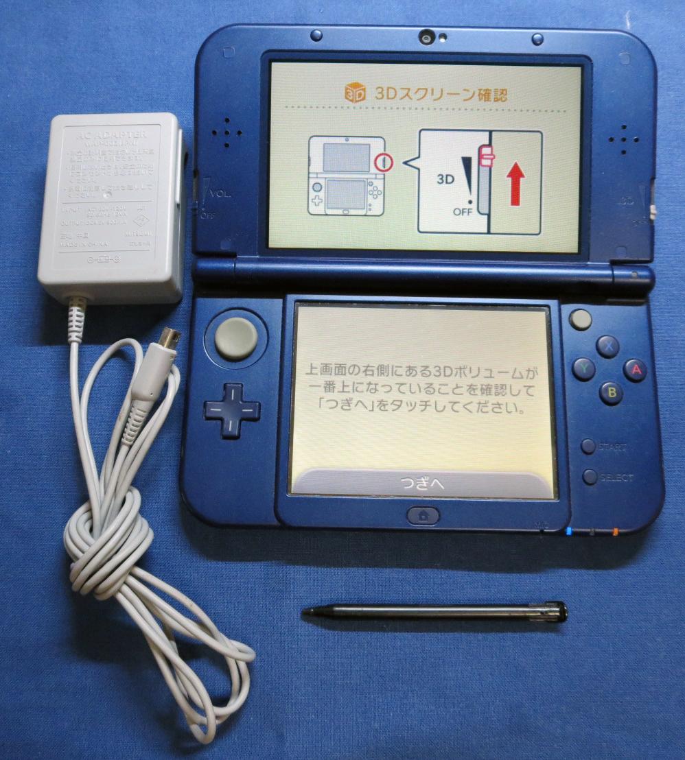 箱無し ニューニンテンドー3DS LL  new NINTENDO 3DS LL 本体セット メタリックブルー 中古品 動作OK