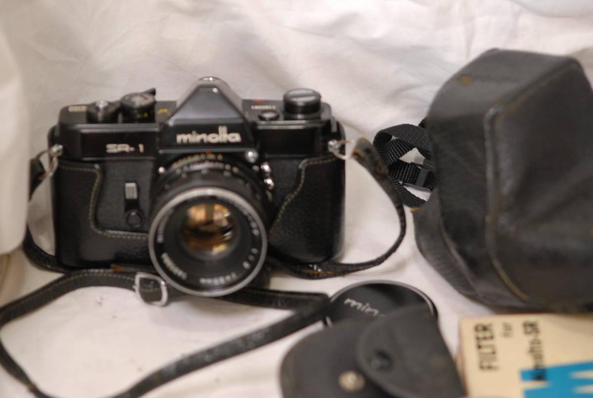 Minolta ミノルタ SR-1 レンズ Minolta auto rokkor-pf 1:2 f=55mm 保護フィルター2枚フード付き ケース付き ブラック_画像4