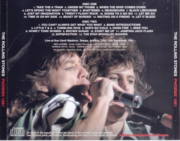 THE ROLLING STONES / PHOENIX 1981 (2CD) Numbered Stickered Edition 廃盤!_画像2