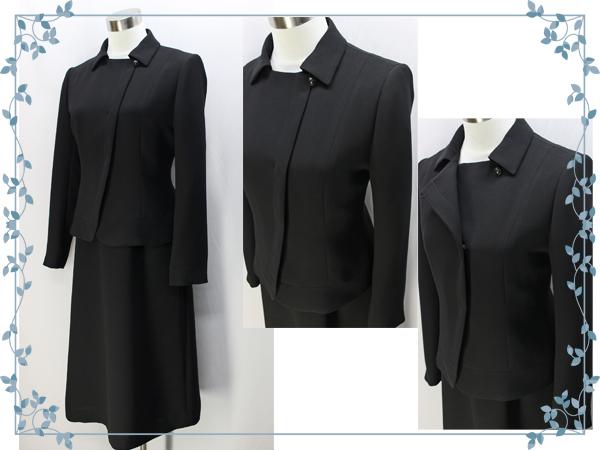 ♪シンプルカラー アンサンブル ブラック フォーマル 15号 日本製 礼服 冠婚葬祭_画像3