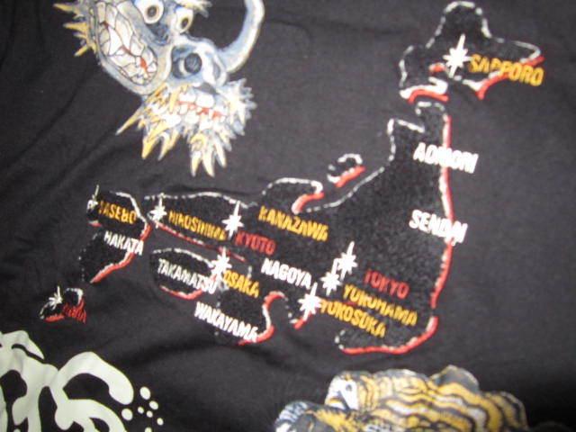 新品!Lap wing 虎 龍 スカジャン風 モコモコ刺繍 半袖 ポロシャツ 黒 M タイガー トラ ドラゴン 竜_画像2