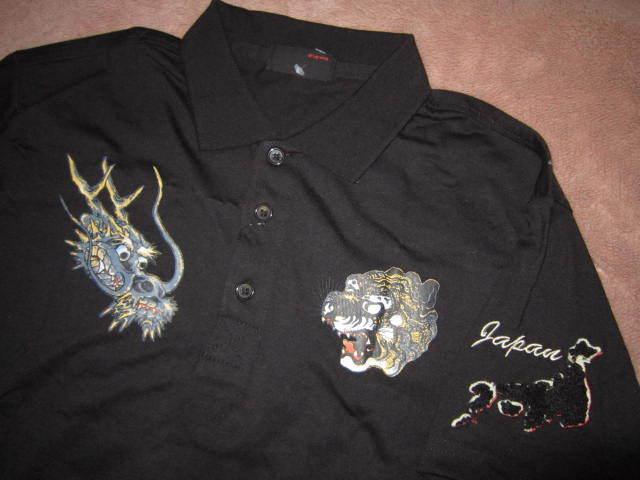 新品!Lap wing 虎 龍 スカジャン風 モコモコ刺繍 半袖 ポロシャツ 黒 M タイガー トラ ドラゴン 竜_画像3