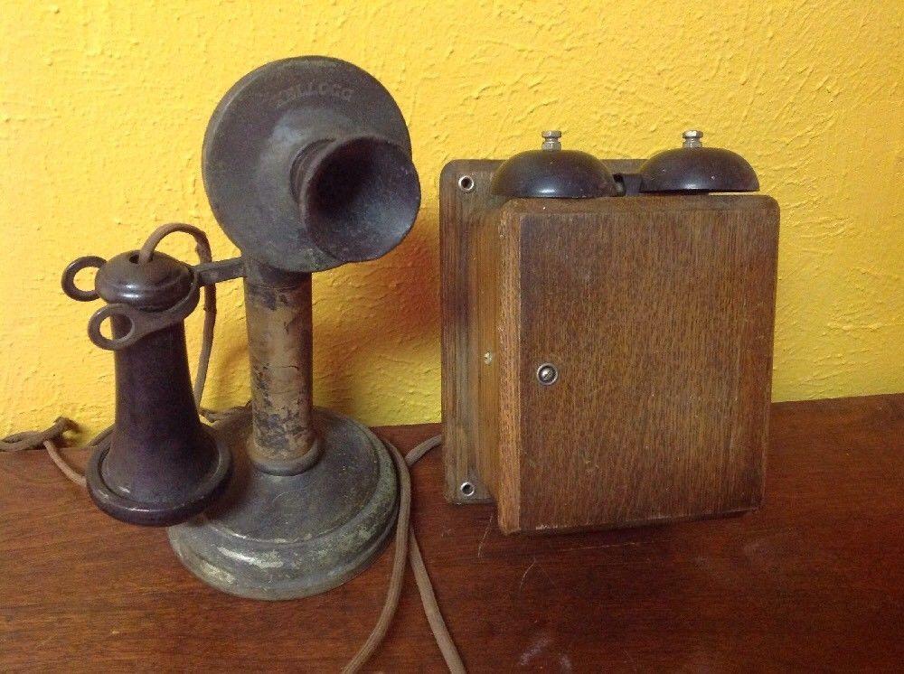 ビンテージ アンティーク Kellogg 燭台 電話機 オーク