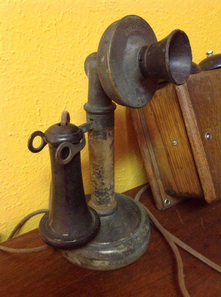 ビンテージ アンティーク Kellogg 燭台 電話機 オーク_画像2