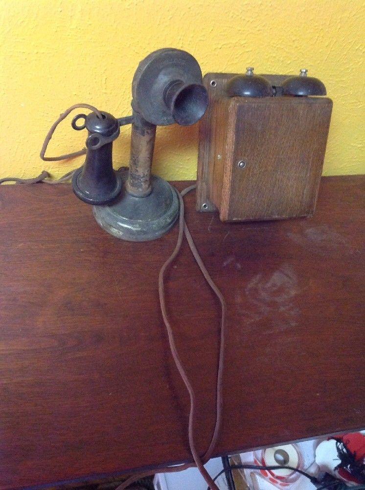 ビンテージ アンティーク Kellogg 燭台 電話機 オーク_画像9