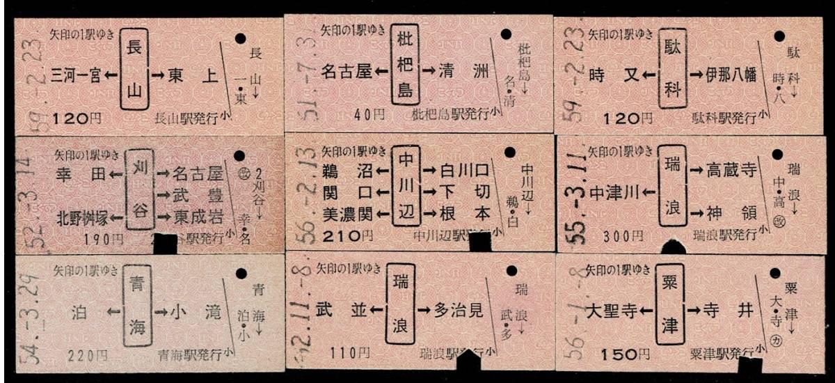 国鉄 名古屋印刷 Bサイズ赤色 乗車券 矢印式 9枚セット 昭和51年~ 使用済み 長山 青海など