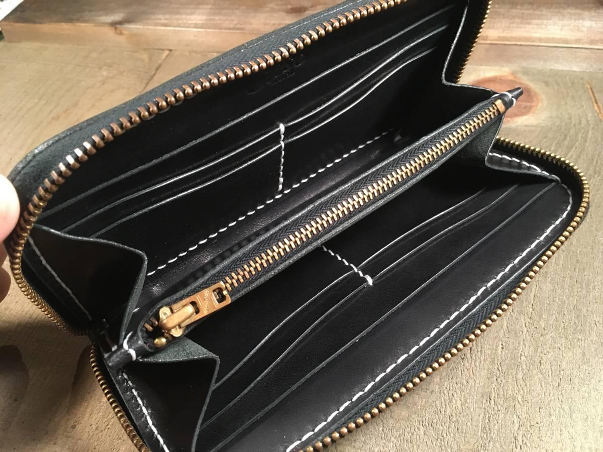 総手縫い ラウンドファスナー ロングウォレット ブラック 栃木レザー使用! サドルレザー アメカジ 真鍮_大きく開きます!