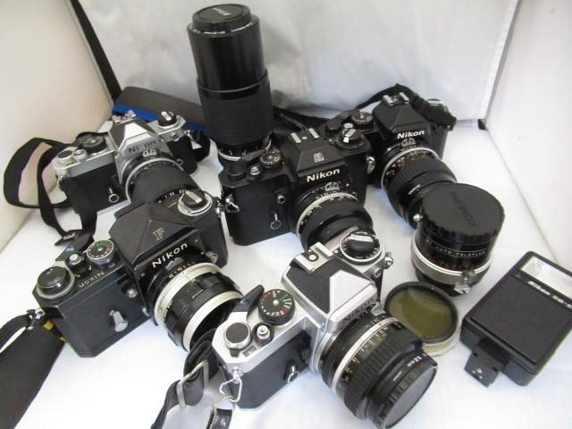 330☆ニコン ジャンクセット EL 50mm 1.4/F NIKKOR S AUTO 2.8 35mm/FM 43-86mm 3.5/FE 50mm 1.4/FE2 55mm 2.8/ZOOM 80-200 4.5/SB-E