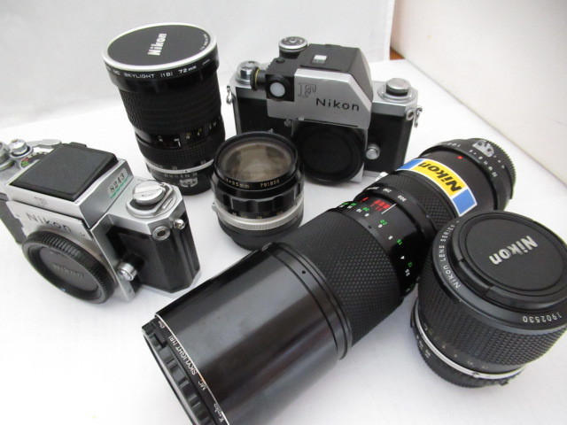 349☆ニコン ジャンクセット F/SERIES E ZOOM 36-72mm 3.5/35mm 1:2/35-70mm 3.5/SOLIGOR 100-300mm 1:5 FOR N/F フォトミック/1円~