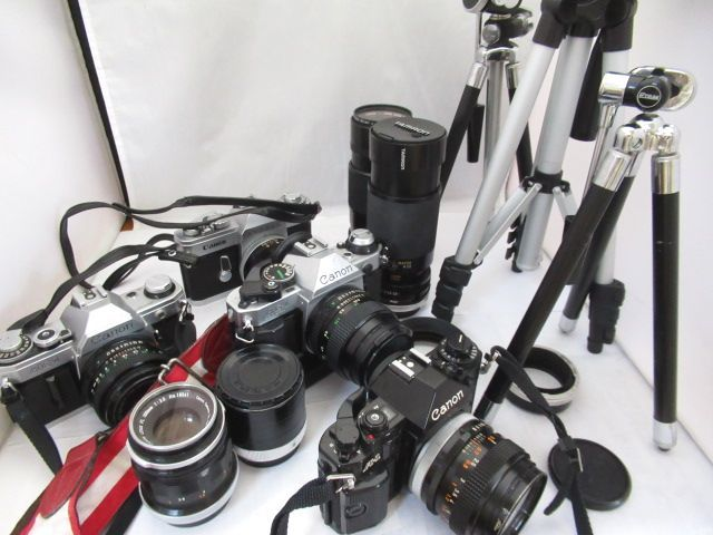 371☆キヤノン ジャンクセット AE-1 50mm 1.8/AE-1 PROGRAM 50mm 1.4/PELLIX 58mm 1.2/A-1/FL 100mm 3.5/FD 200mm 1:4/TAMRON 80-210mm