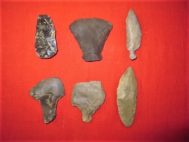 青森県下北地方出土、縄文期 打製石器(ナイフ型・他) 美品・6個